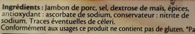 Le Paris  sans couenne - 25% de Sel*- 6 tr - Ingrédients - fr