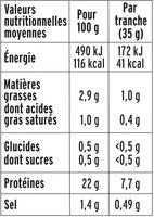 Le Paris sans couenne  - 25% de Sel* - 8 tr. - Voedingswaarden - fr