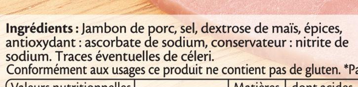 Le Paris sans couenne - 25% de Sel* -  10 tr. - Ingrédients - fr