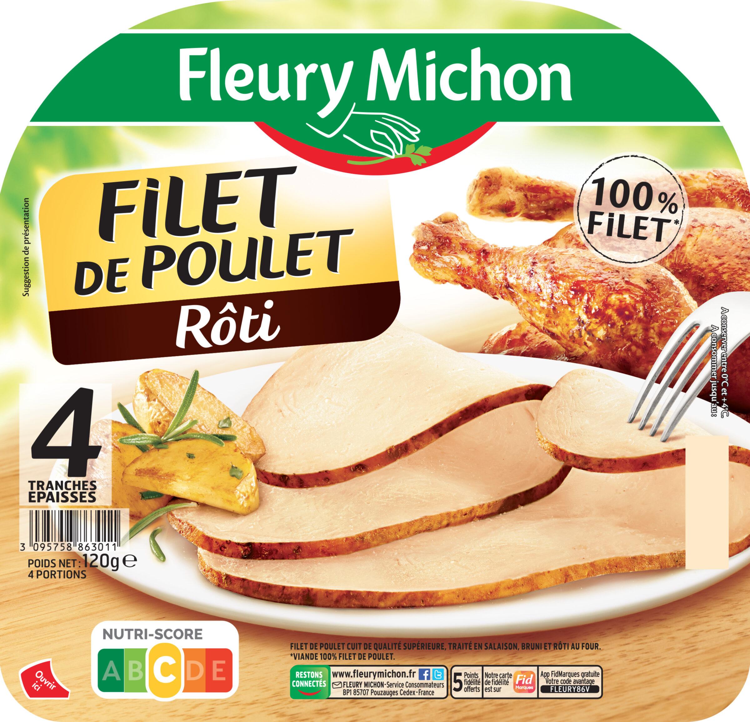 Filet de poulet rôti -100% filet*- 4 tranches épaisses - Prodotto - fr