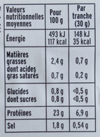 Filet de poulet rôti -100% filet*- 4 tranches épaisses - Nutrition facts - fr