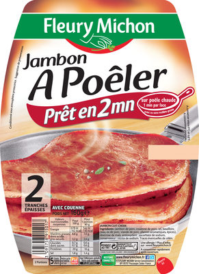 Jambon à poêler - 2 tranches - Nutrition facts