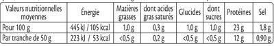 Rôti de Dinde - 100% filet* - Valori nutrizionali