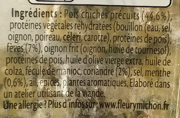 Falafels pois chiches, fèves, coriandre et menthe - Ingrédients