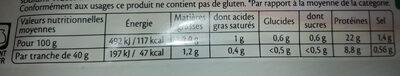 Jambon Cuit De Paris De Qualité Supérieure - Voedingswaarden - fr