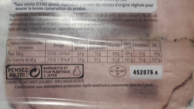 Rôti de Porc - 100 % filet* - Nutrition facts - fr