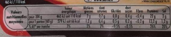 Filet de poulet rôti - Informations nutritionnelles - fr