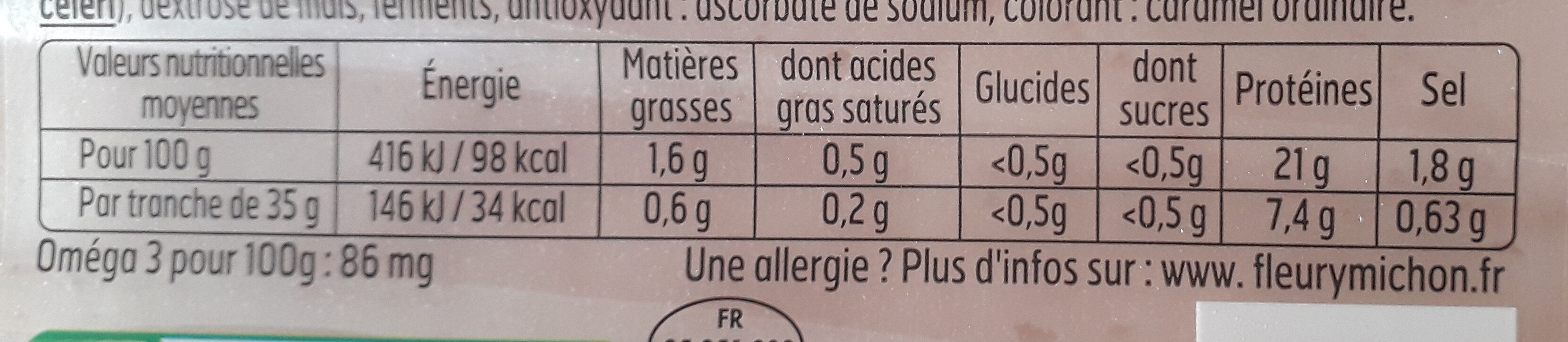 Blanc de Poulet J'AIME - 4 tr. - Informations nutritionnelles - fr