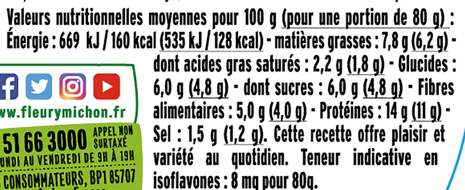 Pavés  Légumes du Soleil et  Chêvre - Informations nutritionnelles - fr