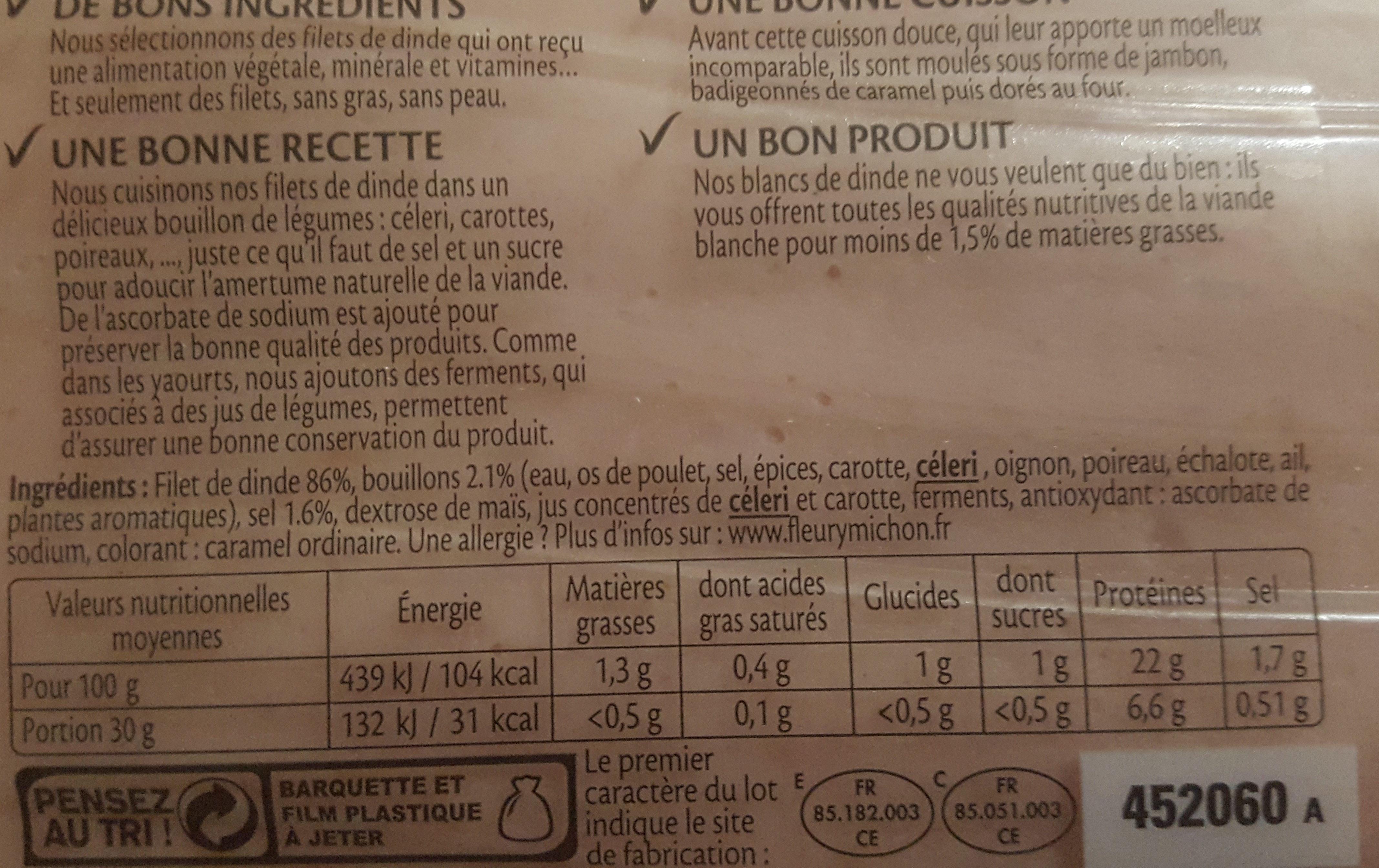 Blanc de dinde doré au four - Informations nutritionnelles - fr