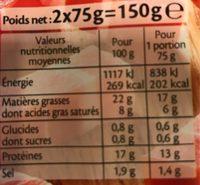 Allumettes J'aime Nature -25% de sel* -2*75g - Informations nutritionnelles - fr