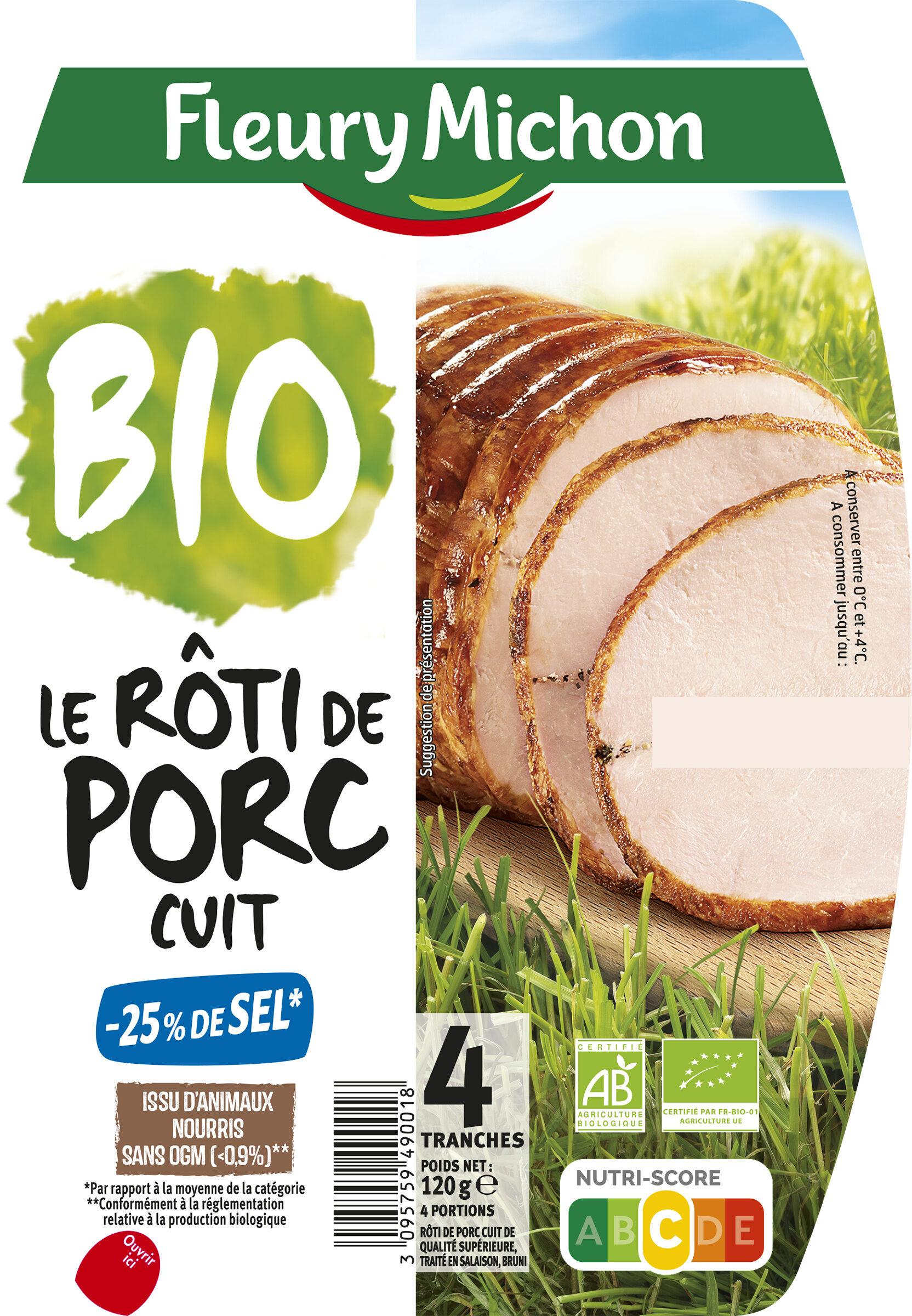 Rôti de porc cuit BIO -25% de sel* - 4 tranches - Product - fr
