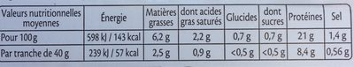Le Supérieur bio, -25% sel - 2 tranches avec couenne - Nutrition facts