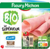Jambon Supérieur sans couenne Bio, -25% de sel* - 4 tranches fines - Produit