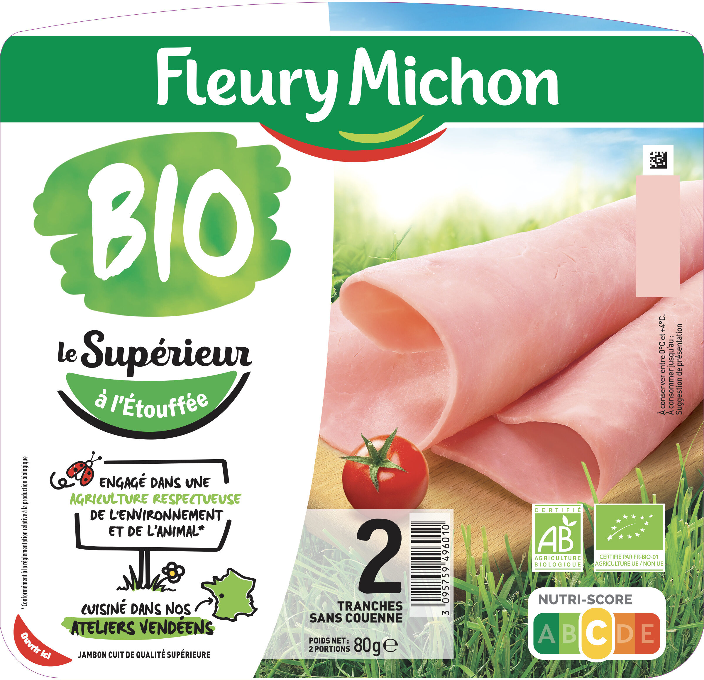 Jambon Supérieur sans couenne Bio - 2 tranches - Prodotto - fr
