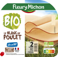 Blanc de poulet BIO, -25% sel* - 2 tranches - Produit - fr