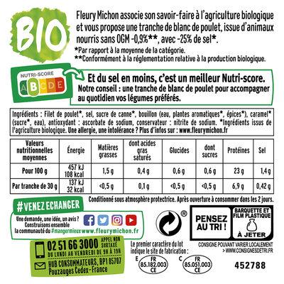 Blanc de poulet BIO, -25% sel* - 4 tranches - 7