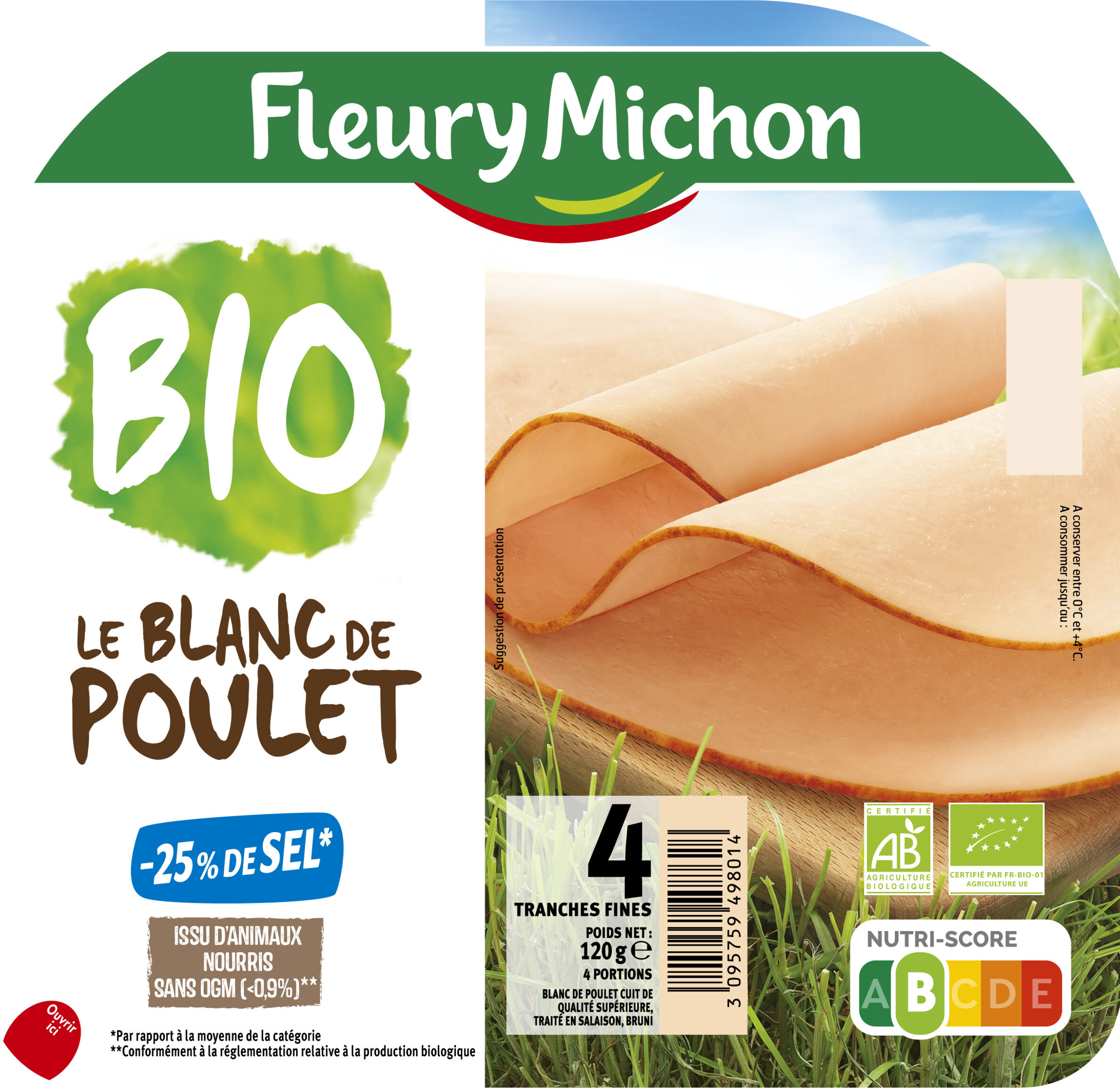 Blanc de poulet BIO, -25% sel* - 4 tranches - Produit - fr
