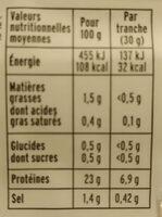 Blanc de poulet BIO - 4 tranches - Valori nutrizionali - fr