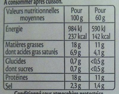 Allumettes  nature Bio - 25 % de sel* - 2x60g - Voedingswaarden - fr