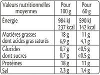 Allumettes fumées BIO -25% de sel* - Informations nutritionnelles - fr