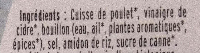 Emincés de poulet - 25% de sel* - BIO - Ingrédients - fr