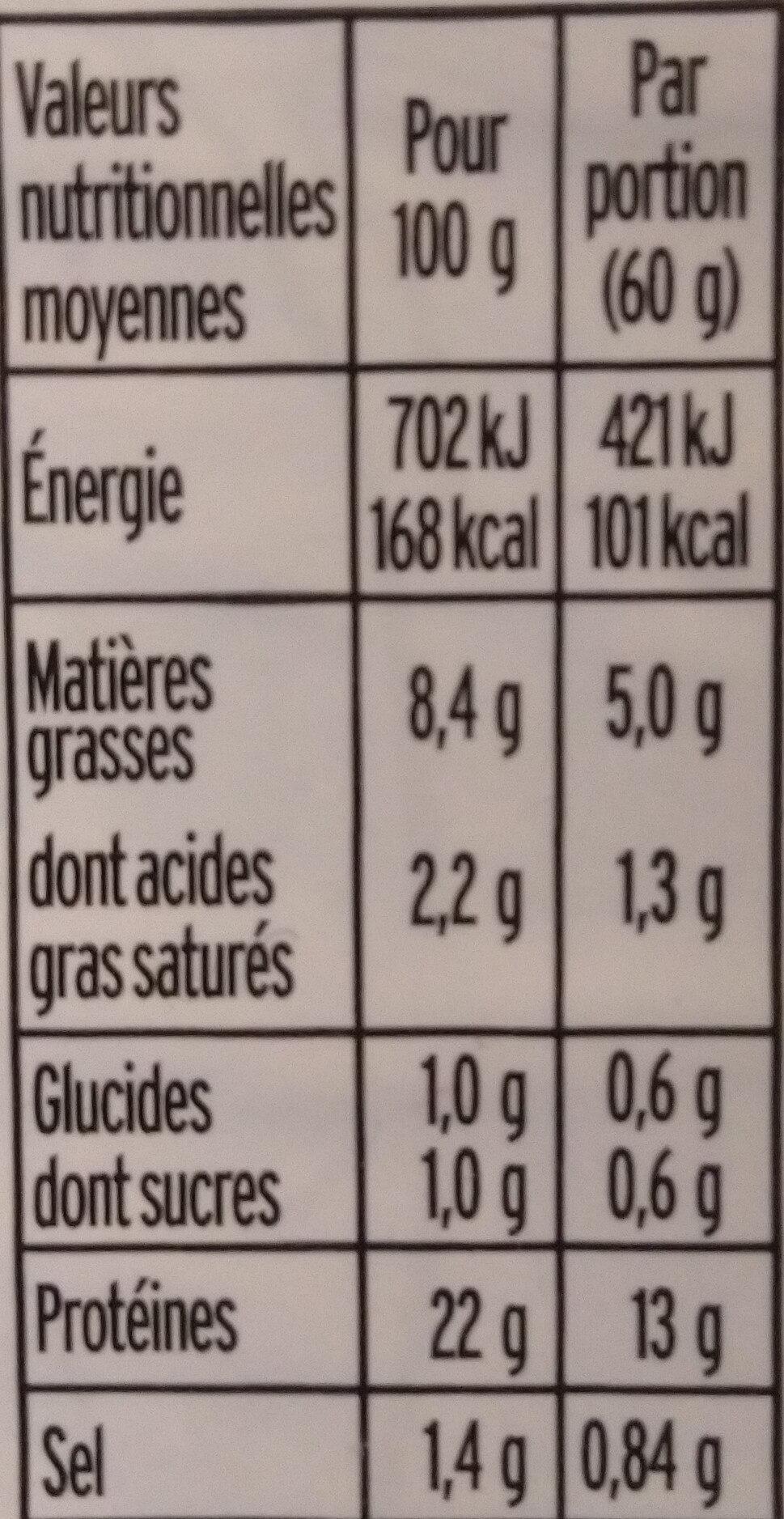 Emincés de poulet - 25% de sel* - BIO - Informations nutritionnelles - fr
