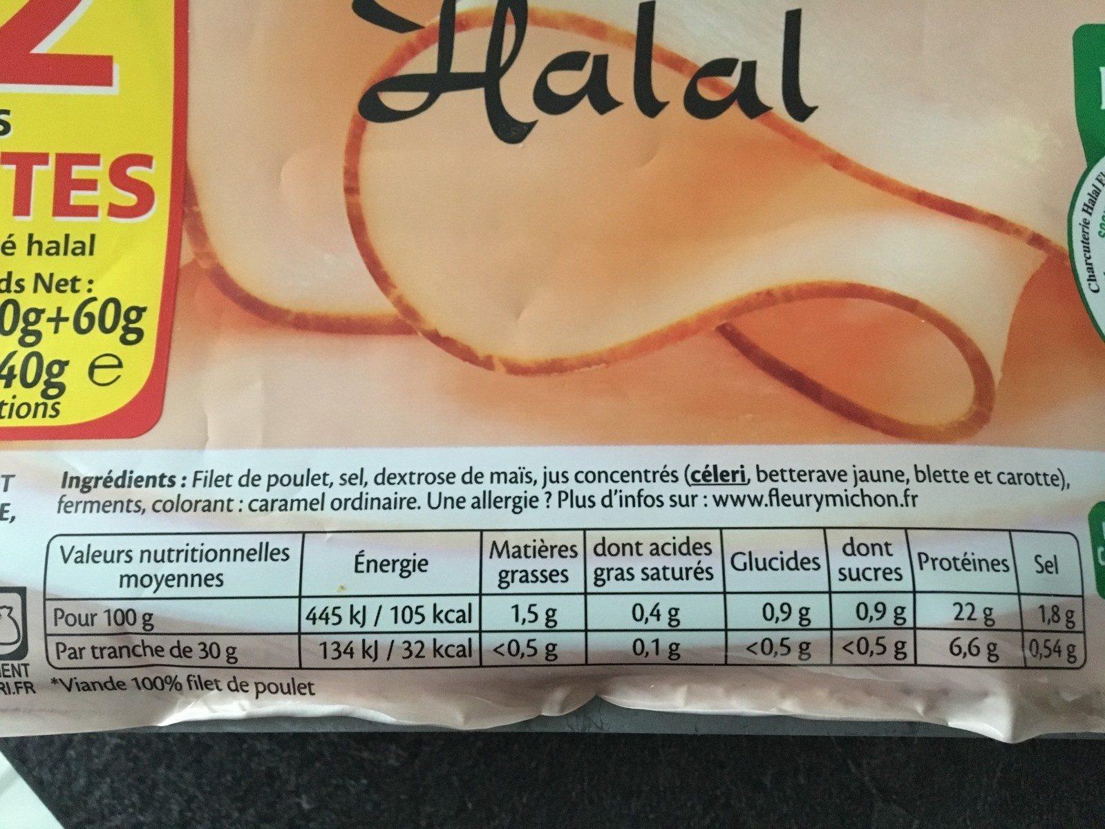 Blanc de poulet fumé halal - Ingredients - fr