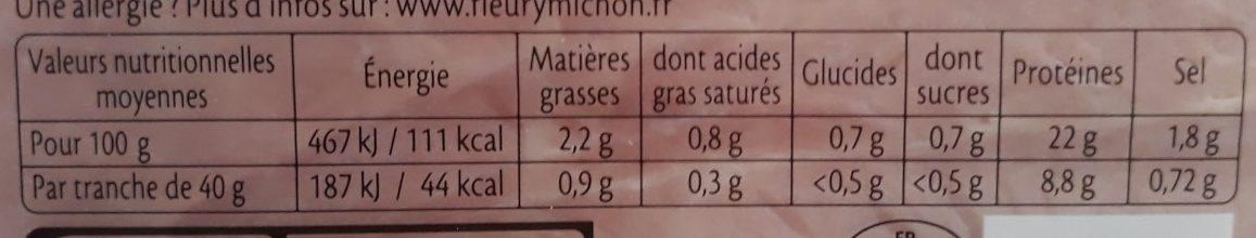 Le supérieur sans sel nitrité - Voedingswaarden - fr