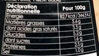 Sauce Nantua au fumet d'écrevisses maison - Voedingswaarden - fr