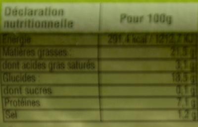 Quatre quenelles fraîches natures bio - Informations nutritionnelles - fr