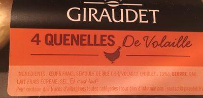 4 Quenelles Fraîches de Volaille - Ingrédients