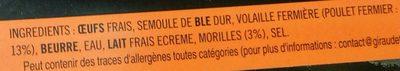 4 quenelles fraîches de volaille fermière aux morilles - Ingredients