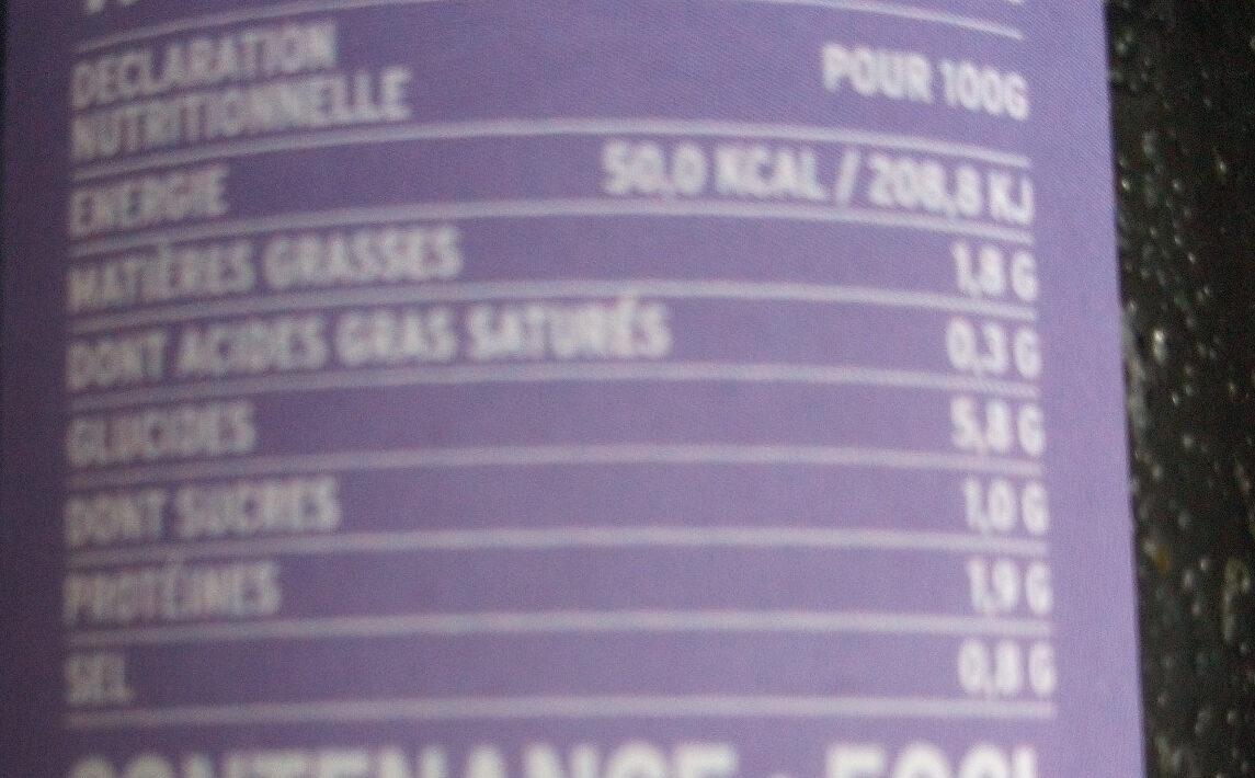 Soupe chou kale orge perlée - Nutrition facts - fr