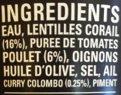Soupe lentilles corail poulet curry - Ingredients