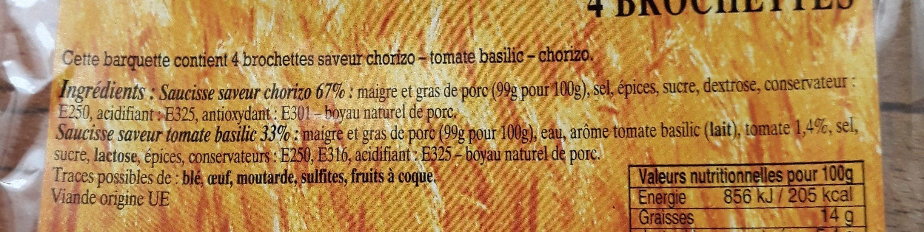 Brochettes saveurs du sud - Ingrédients - fr