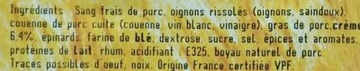 Boudin de Lyon à la crème - Ingrédients - fr