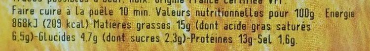 Boudin de Lyon à la crème - Informations nutritionnelles - fr