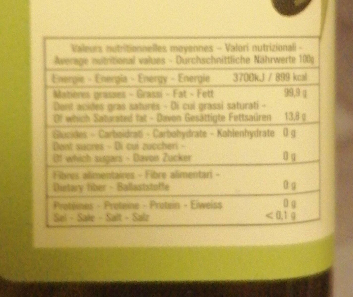 Huile d'olive vierge extra - Nutrition facts - fr