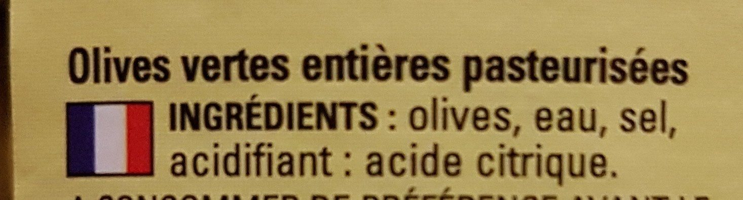 OLIVES VERTES Entières - Ingredients - fr