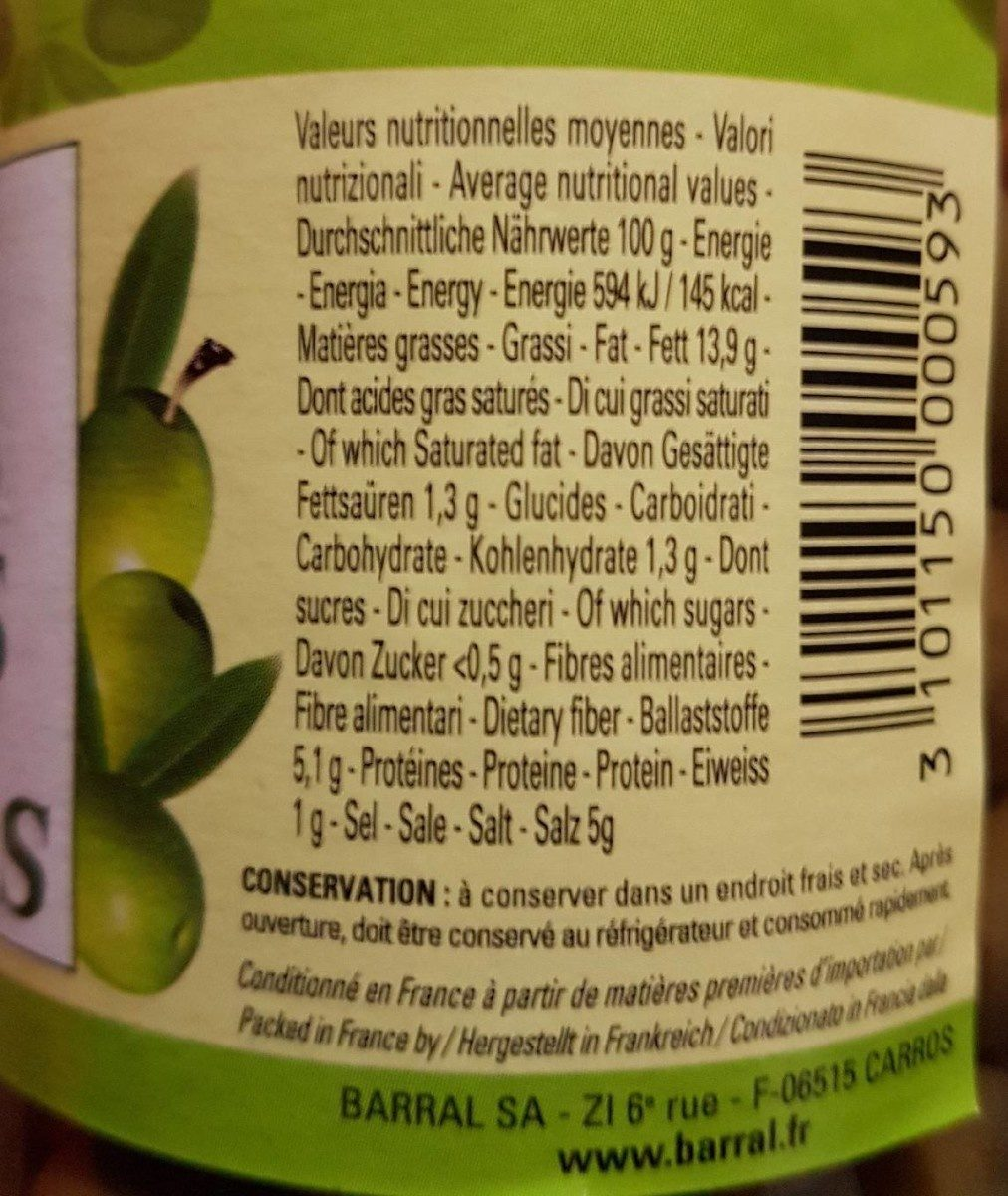 OLIVES VERTES Entières - Nutrition facts - fr