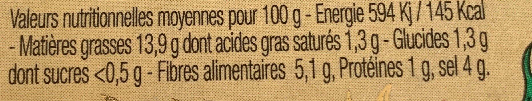 olives vertes picholines - Nutrition facts - fr