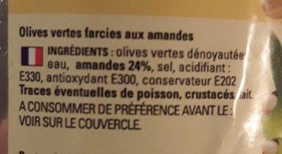 Olives vertes farcies aux amandes - Ingredients - fr