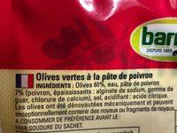 Barral Grønne Oliven M / Paprika Paste - Ingredients - fr