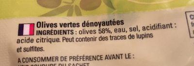 Olives Vertes Dénoyautées 170g Net - Ingredients - en
