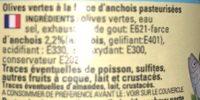 Olives vertes a la farce d'anchois - Ingredients - fr