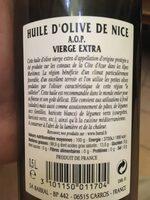 Huile d'olive de Nice AOP - Ingredients - fr