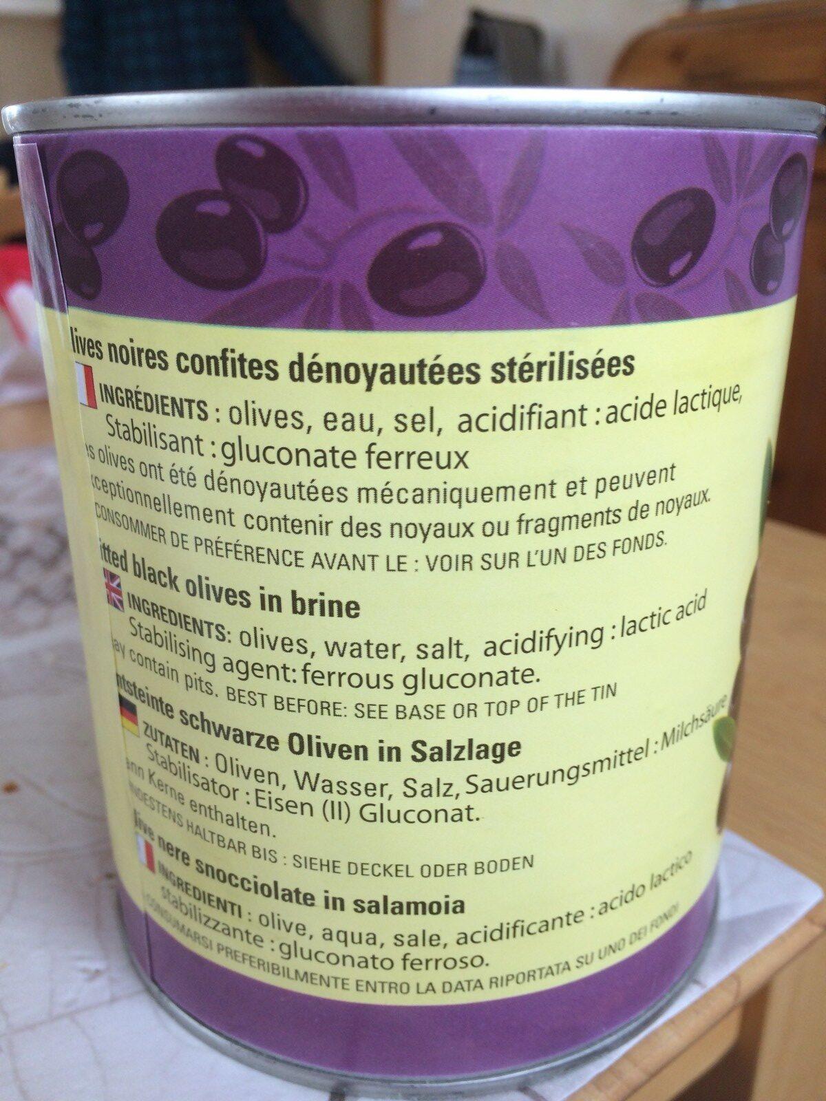 Olives Noires Dénoyautées Barral 800 Gr, 1 Boîte - Ingredients - fr