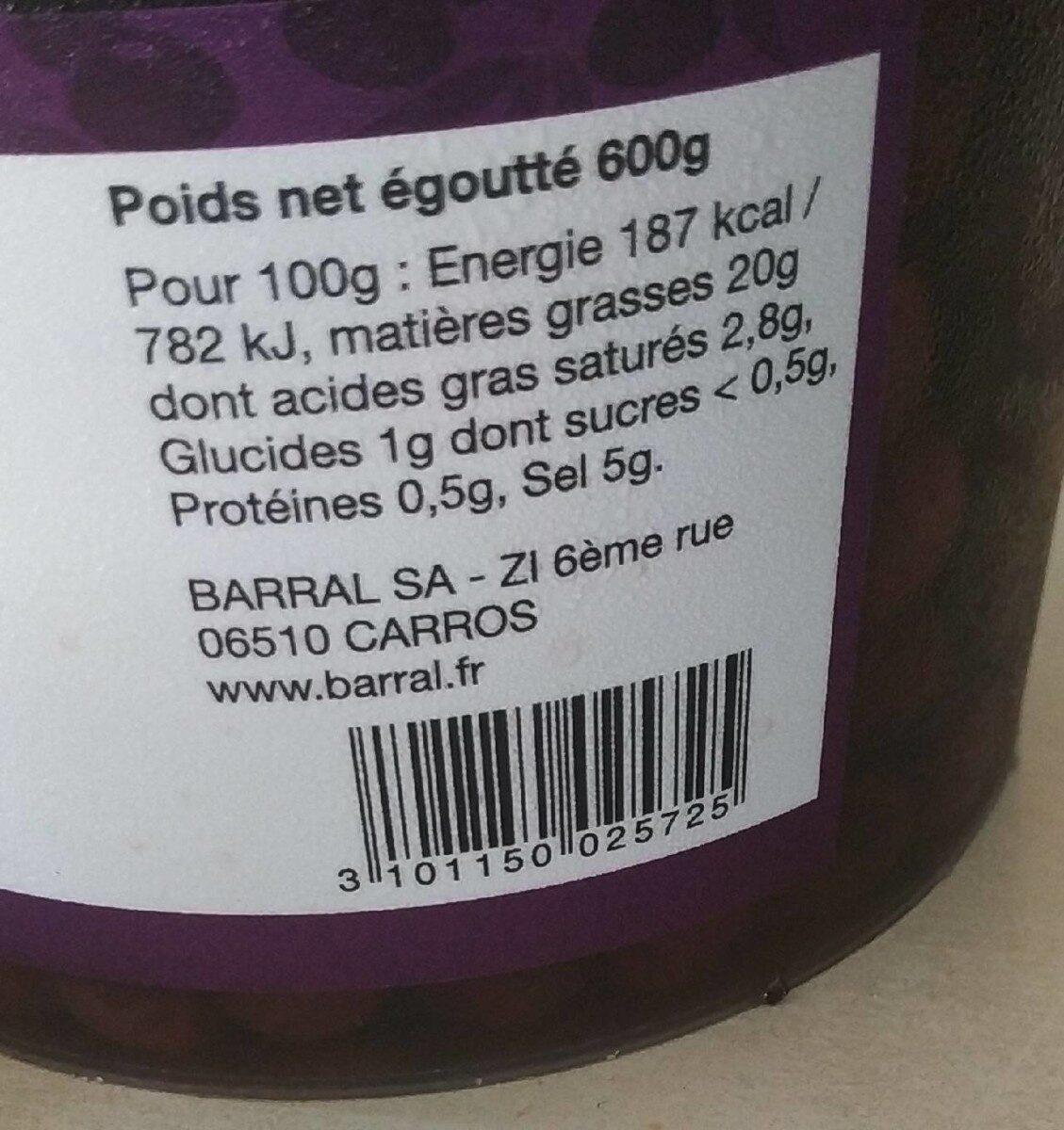 Olives noires au naturel - Voedingswaarden - fr