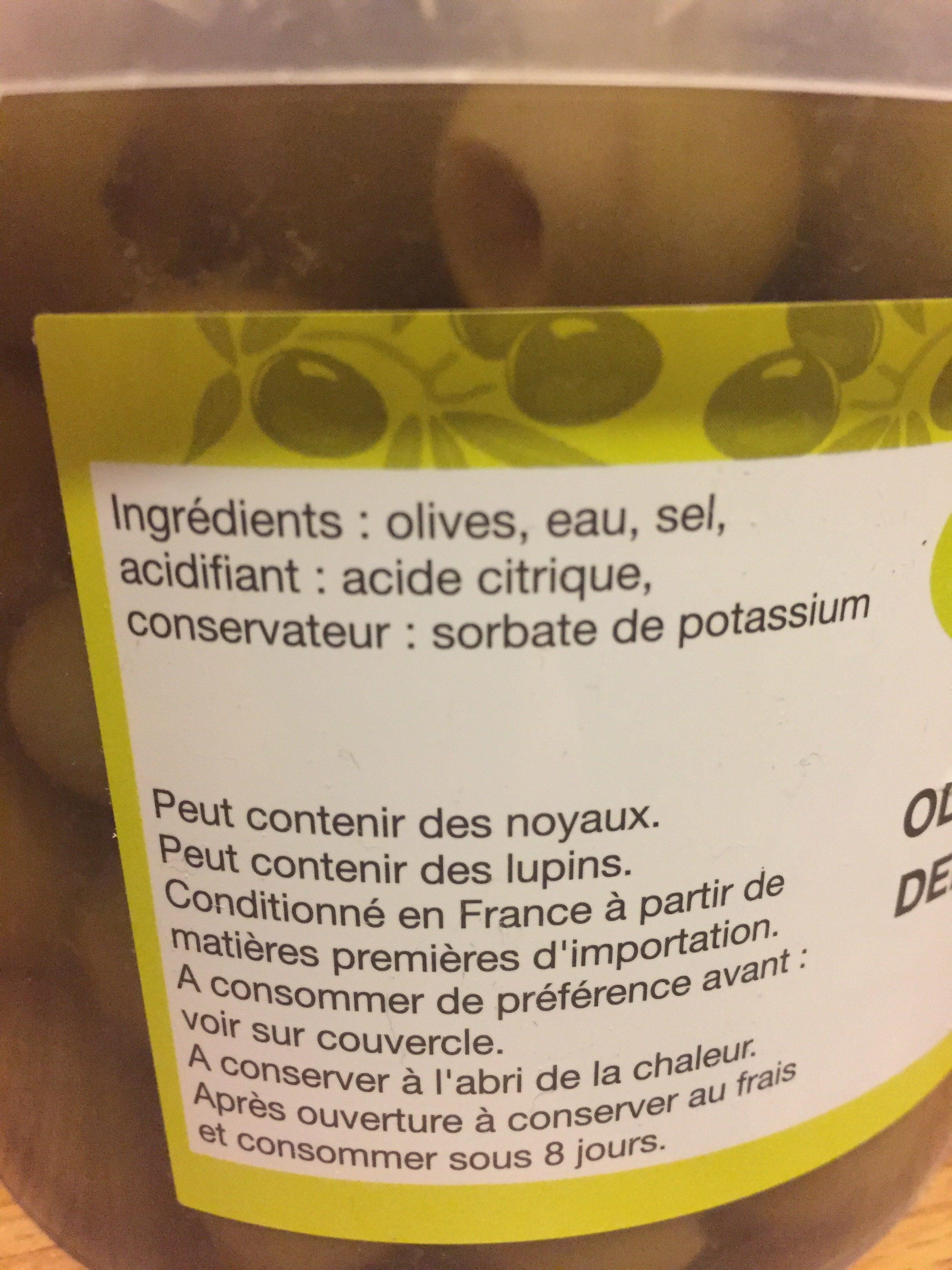 Olives vertes dénoyautées - Ingredients - fr